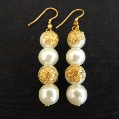 Dangling Pearl and Brass Earrings-was KSH550.00 now KSH385.00