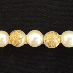 Five-Pearl and Brass Brooch-KSH550.00