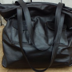 Kobe Leather Handbag with straps showing