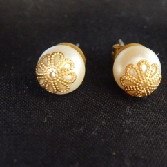 Pearl and Brass Studs-KSH250.00